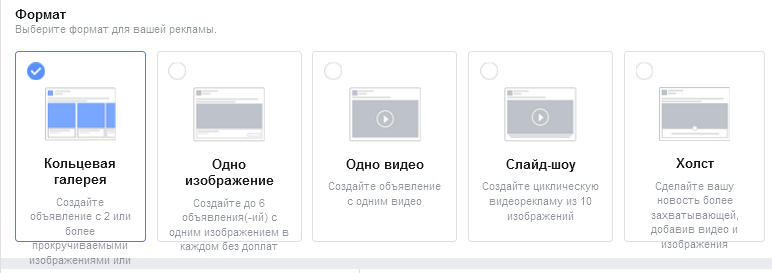 Реклама на Фейсбук - форматы